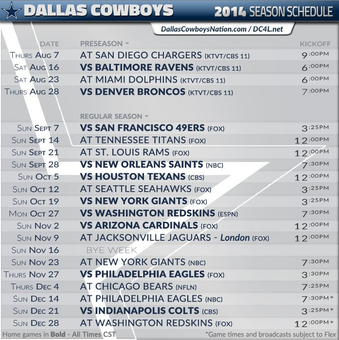 dallas cowboys schedule 2014 - photo #12