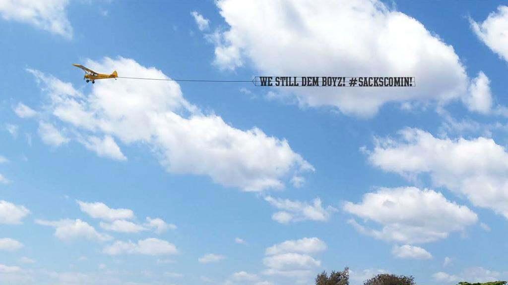 "Cowboys Blog - [VIDEO] ""We Still Dem Boyz #SacksComin"" Banner Flying Over Eagles Camp"